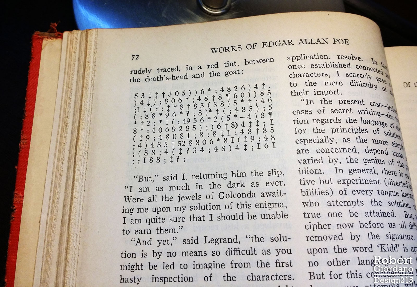 photo of the Gold Bug cryptogram from Prose Tales by Edgar Allan, 1898