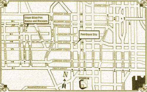 Poe house and grave site map